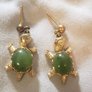 Jade Turtle Earrings Stud Dangle Gold Filagree
